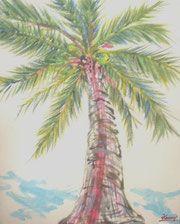 爽快で少し温かみのある香りの絵。シンプルかつ力強く生きるやしの木からパワーがみなぎっています。