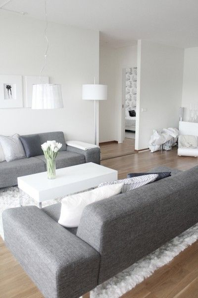 Grey couch modern living room white wall interior - White walls living room ...