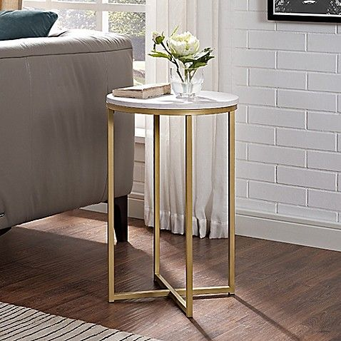 Forest Gate 16 Inch Round Side Table In Gold With Faux Marble Top Round Side Table Saracina Home Living Room Table