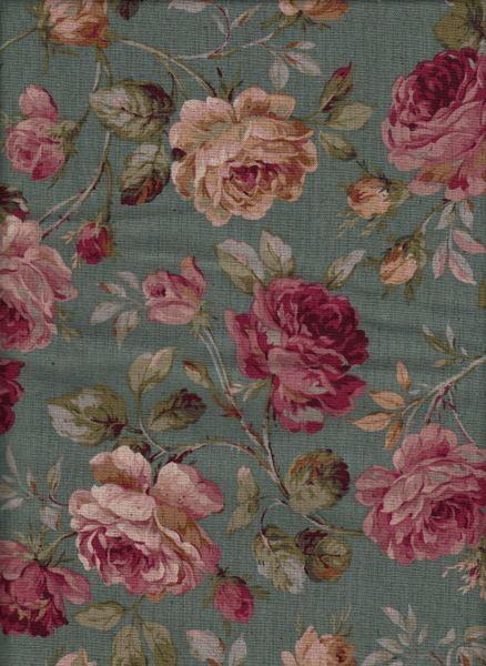 Wachstuch Old Rose türkis AUT999b von kiseki - Stoffe aus Japan auf DaWanda.com