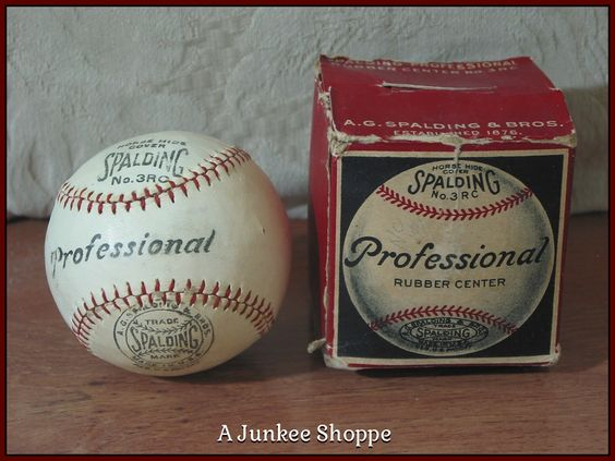 SPALDING 1915 Professional Baseball Horse Hide Number 3RC Rubber Center Junk 980  http://ajunkeeshoppe.blogspot.com/