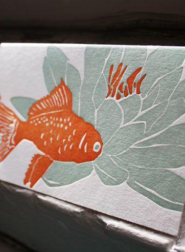 Koi letterpress notecard by Smock Paper. Set of 6 for $14