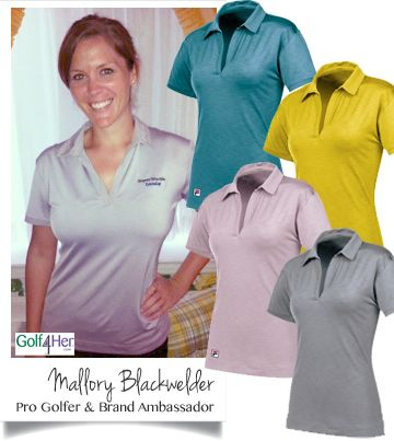 While competing on the Symetra Tour, Golf4Her Brand Ambassador, Mallory Blackwelder is sporting the new FILA Golf Lisbon Polo in Nirvana (lavender).