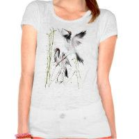 Two Cranes In Bamboo  - Pretty, funny and artistic bird designs on t shirts. These works are done by my fellow artists at Zazzle.  leatherwooddesign.com  #zazzle
