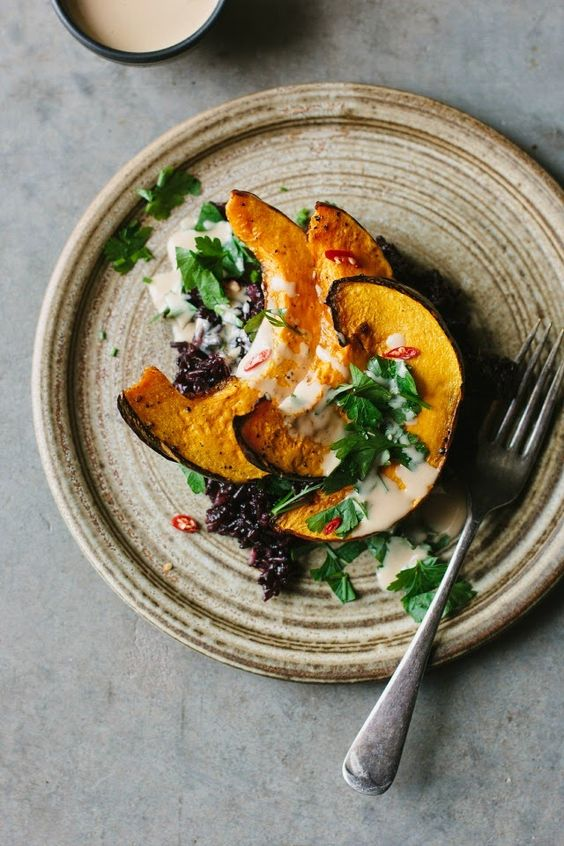 Sarah B's roasted pumpkin with black rice and tangerine tahini sauce | My Darling Lemon Thyme