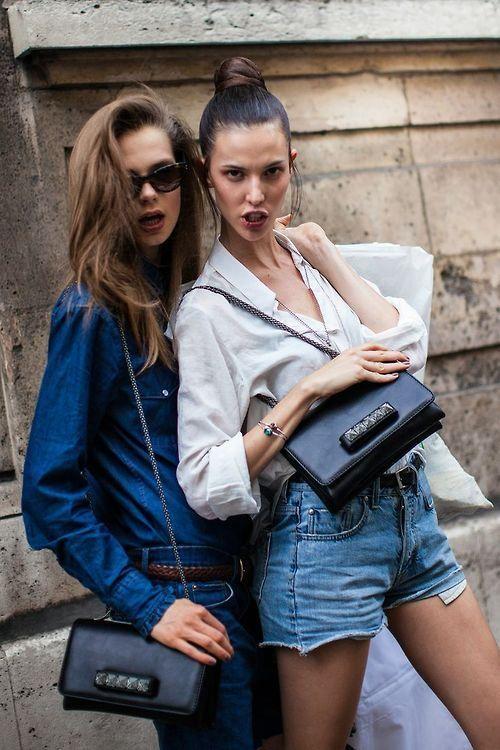rockstars. Caro & Ruby throwing down some 'tude #offduty in Paris. #CarolineBraschNielsen #RubyAldridge