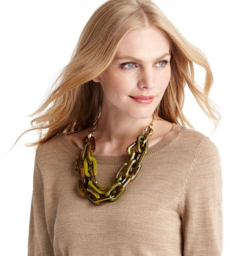Love this necklace with a basic sweater for business casual