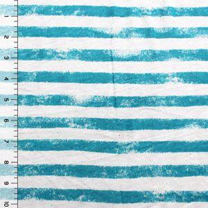 Graffiti Stripe Turquoise Cotton Jersey Knit Fabric