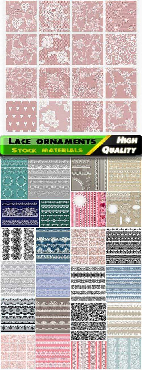 Lace ornamental and floral patterns - 25 Eps