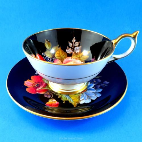 Very Rare Exquisite Handpainted Black & Floral Aynsley Tea Cup and Saucer