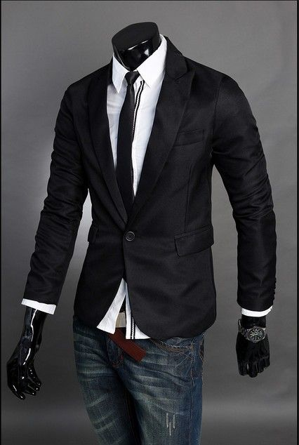 High quality one-button fitted men's blazer. Look striking for a ...
