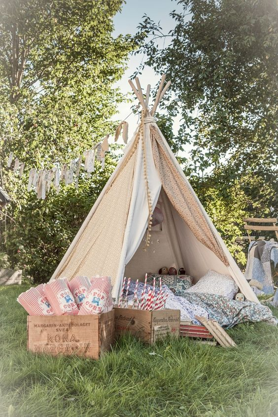 Set up a cute teepee/fairy tent at the wedding for children to play in or for photo booth. Perfect for a wedding in garden party style / backyard.: