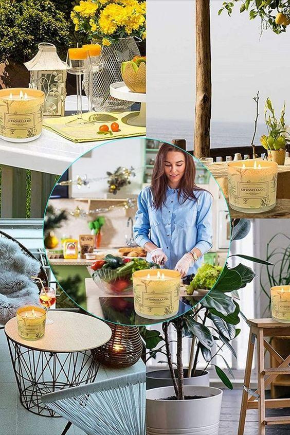 Citronella Kerze Outdoor angereichert mit dem Zitronengras-Pflanze, dieser klassische Duft kombiniert eine Kopfnote von grünen Zitrusfrüchten mit einer frischen und sauberen Duftnote. riecht frisch und angenehm, nicht scharf! Brennen Sie brennt sauberer und länger ohne schwarzen Rauch, Die Soja-Kerze Citronella ist biologisch abbaubar und umweltfreundlich.riecht frisch und angenehm, nicht scharf! *Pin enthält Werbelink