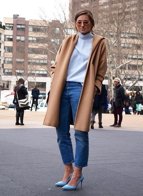Shop this look for $124:  http://lookastic.com/women/looks/white-turtleneck-and-camel-overcoat-and-blue-jeans-and-aquamarine-heels/1184  — White Turtleneck  — Camel Overcoat  — Blue Jeans  — Aquamarine Leather Heels