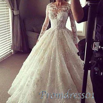 Creamy lace prom dress with sleeves, ball gowns wedding dress www.promdress01.c... #coniefox #2016prom