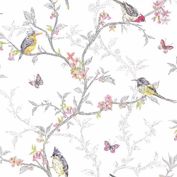 Soft Teal - 98083 - Phoebe - Birds - Trees - Blossom - Butterflies - Statement - Holden Decor Wallpaper: Amazon.co.uk: Kitchen & Home