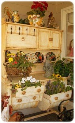 Love the idea of using an old piece of furniture to have a beautiful garden in your home ~