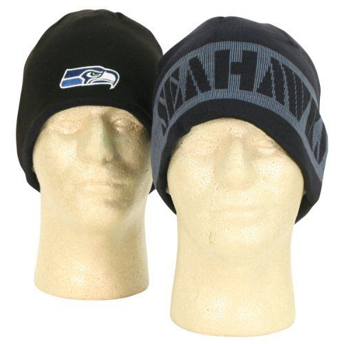 """NFL """"Stencil"""" Reversible Winter Knit Beanie - Seattle Seahawks by Reebok. $14.95. Represent your team while staying warm with this embroidered logo beanie."""