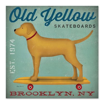 Americanflat 'Old Yellow Skateboards' by Wild Apple Vintage Advertisement Size: 1