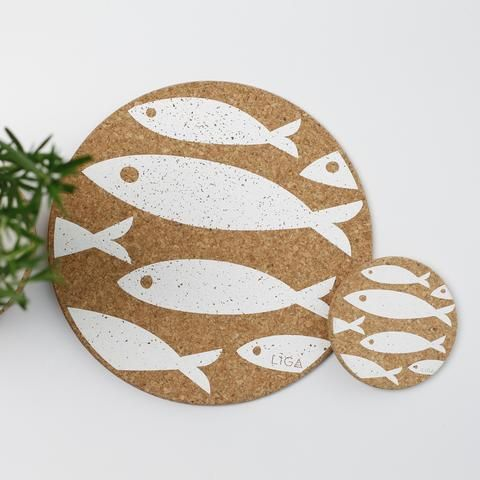 Fish Placemats Coasters One Of Eight Designs Mix And Max To Create An Original Look Made With Cork A Sustainable Natural Ma Placemats Cork Cork Coasters