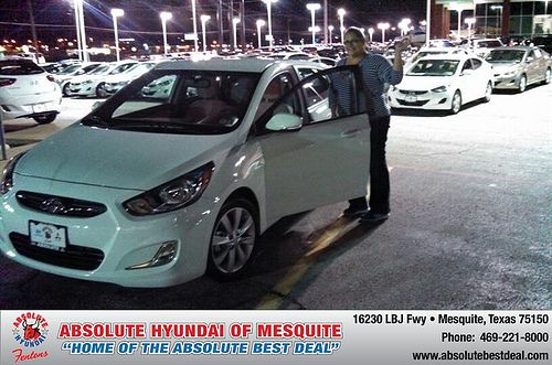 Thank you to Melissa Hernandez on your new 2013 Hyundai Accent from Steve Ragan and everyone at Absolute Hyundai!