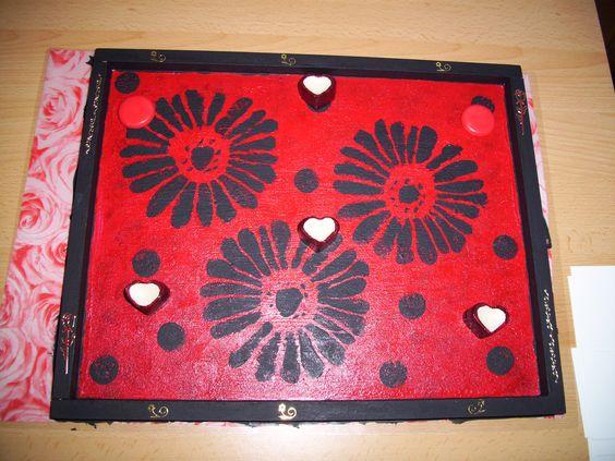 Magnetpinwand aus alter Spannschachtel mit Magnetfarbe bemalt und bestempelt