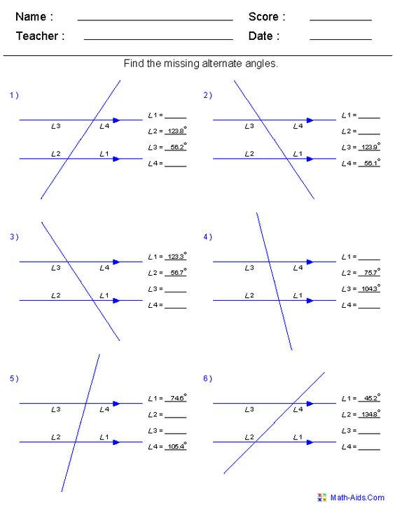 Find Alternate Angles Worksheets worksheets for ALL TYPES of – Finding Angles Worksheet
