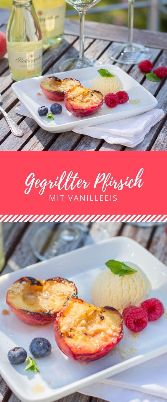 Grillen kann man auch süß! Glaubst du nicht? Mein Rezept für gegrillten Pfirsich mit Vanilleeis beweist es dir. Das perfekte Gericht für den Sommer!