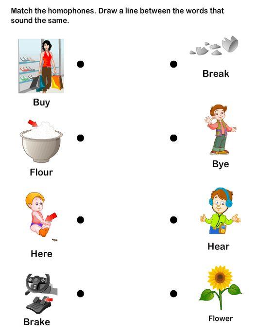 eslefl Worksheets kindergarten Worksheets Homophone Word – Kindergarten Esl Worksheets