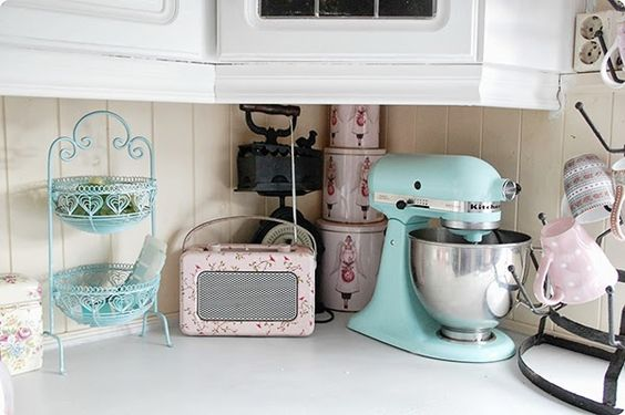 Pretty pastel kitchen WITH a roberts radio and a turquoise kitchen aid!