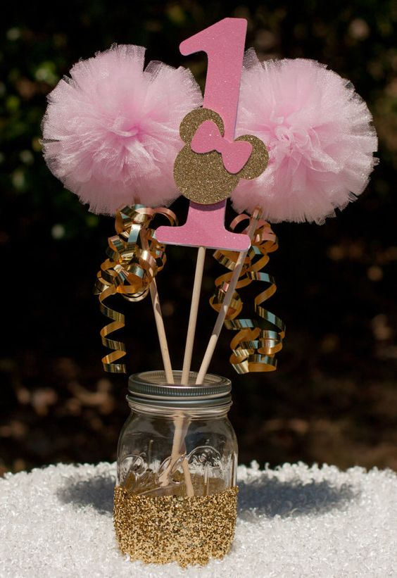 Minnie Mouse Centerpiece Gold And Pink : Minnie mouse party pink and gold centerpiece table