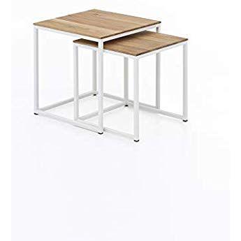 Woodlive Massivholz Couchtisch 2er Set Wildeiche Beistelltisch Holz Metallgestell Wohnzimmertisch 40 X 40 X Couchtisch Massivholz Couchtisch Beistelltisch Holz