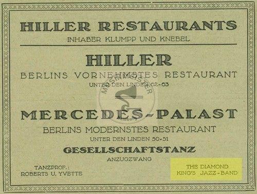 Hiller Restaurant-Mercedes Palast Unter den Linden Berlin Aug.1922
