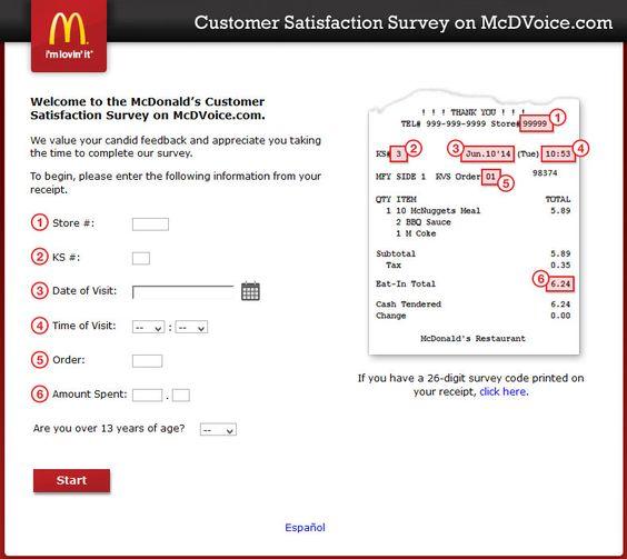 WwwMcdvoiceCom  McdonaldS Customer Satisfaction Survey