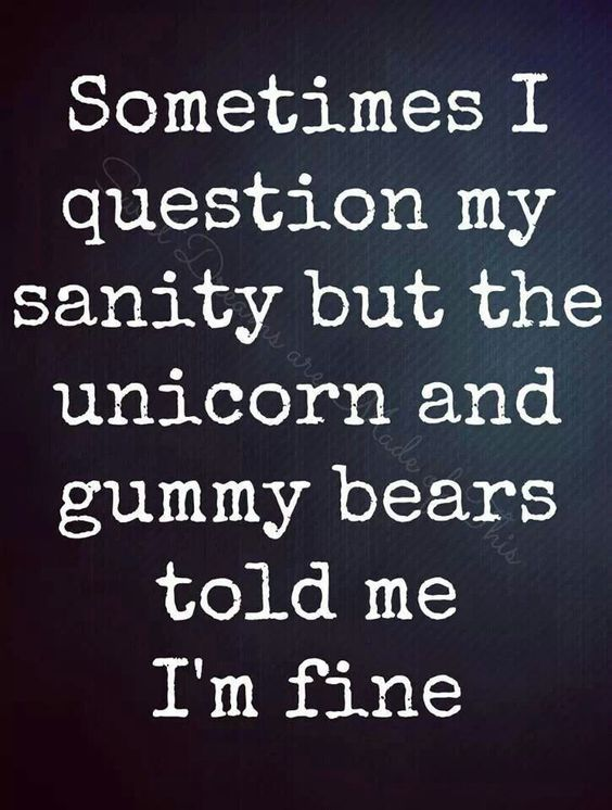 Sometimes I question my sanity but the unicorn and gummy bears told me I'm fine.