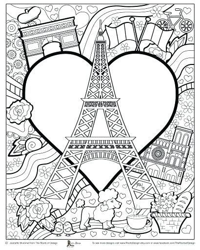 Holiday In Eiffel Tower Coloring Page - Download & Print Online ...   512x410