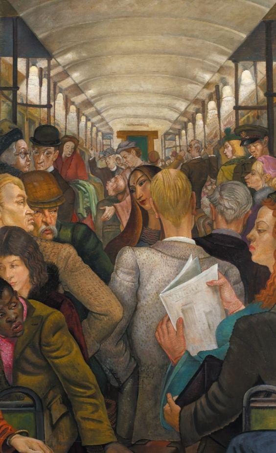 The Tube Carriage  :: Edward Bainbridge Copnall  ::   Oil on board, signed 1954