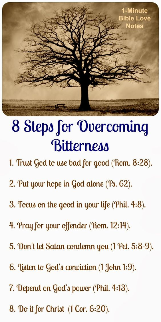 When dealing with a difficult injustice, going through this list daily will help you overcome bitterness. Double click image for a 1-minute devotion that fills in the details on this list.: