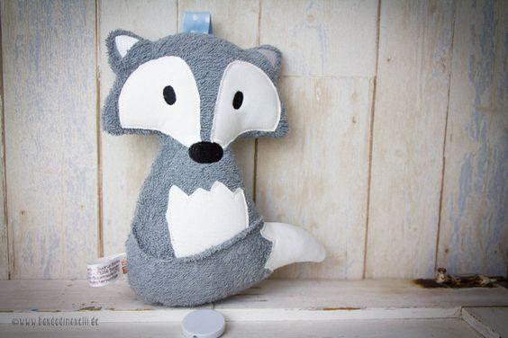 """Spieluhren - Bio Spieluhr """"Filou der Fuchs"""" Frottee grau/Bleu - ein Designerstück von Banda-di-Monelli bei DaWanda"""