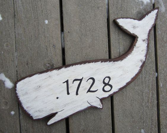 White Whale Address Sign - Hand Painted Wood - Moby Dick - Outdoor - Welcome - Family Last Name via Etsy