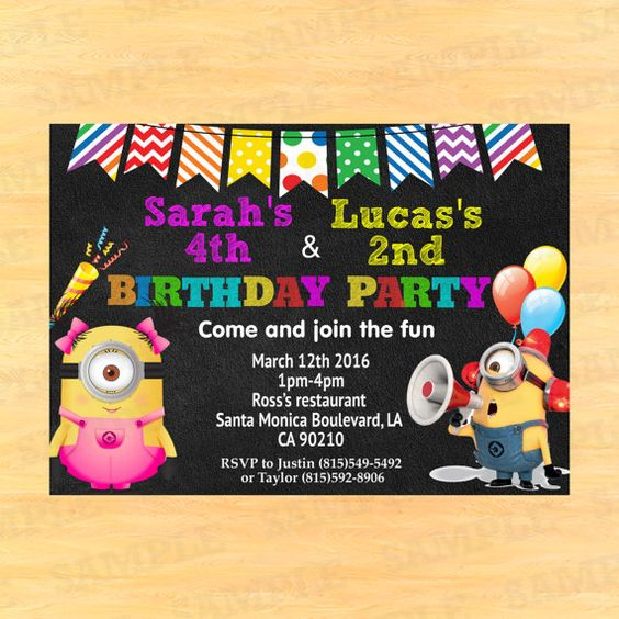 Minion Double Birthday Invitation for boy and girl by PartyInstant