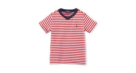 Ralph Lauren Little Boys' Striped V-Neck Tee