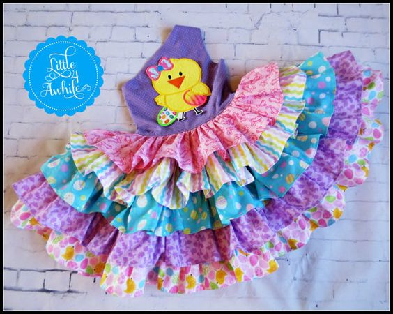 Girls Ruffles Galore One Shoulder Appliqued Easter Chic OTT Dress Ready To Ship 12m 18m 24m 2t