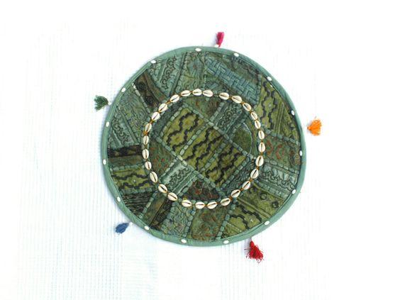 Petite tenture indienne ronde verte, tenture indienne verte,tenture murale,set…