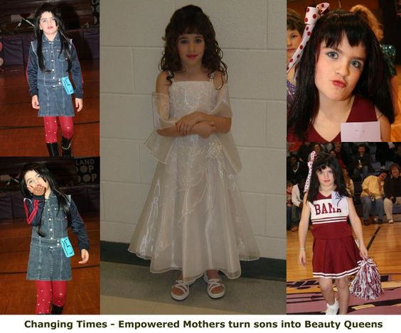 Strong empowered mothers are no longer afraid to instill feminine behavior into their sons. You may recognize some of the pictures from a womanless pageant that have been floating around for a few years. After entering her son into multiple pageants this embolden mother took things further turning her little brat into a sweet feminine princess.