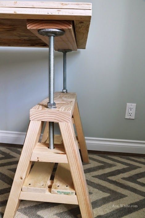 Diy industrial adjustable sawhorse desk to coffee table Sawhorse desk legs