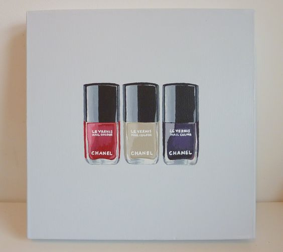 Chanel Nail Polishes - Original acrylic on canvas painting - Cocostyle Studio