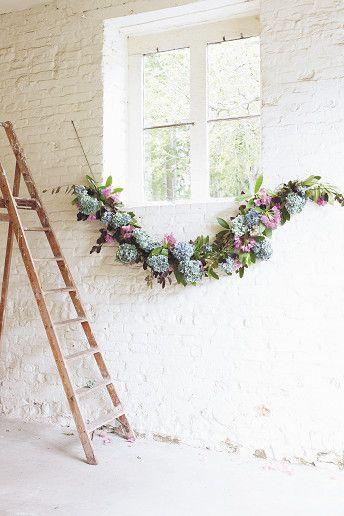 #Wedding #DIY ideas: #floral garland - get the tutorial here: http://www.weddingandweddingflowers.co.uk/article/1135/wedding-flowers-diy-hydrangea-garland