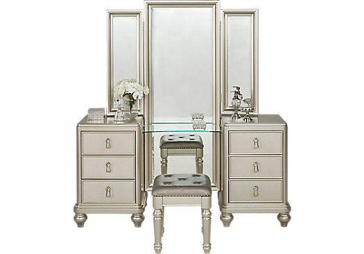 Accent Pieces Sofia Vergara Sofia Vergara Paris Silver 2 Pc Vanity Set 3318970p King Bedroom Sets Silver Bedroom Bedroom Sets Bedroom set with vanity