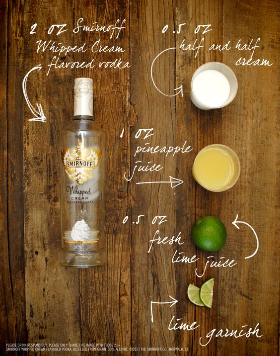 Key Lime Cream Pie Drink Recipe: 2 oz SMIRNOFF® Whipped Cream Flavored Vodka, 1 oz pineapple juice, 0.5 oz fresh lime juice, 0.5 oz half and half cream. In an ice-filled shaker combine all the ingredients. Shake well. Strain into a chilled martini glass rimmed with crushed graham crackers (optional). Garnish with a lime round. #Smirnoff #vodka #drinkrecipe #keylime #pie